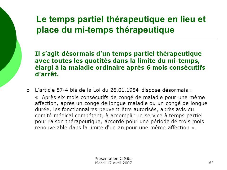 Le temps partiel thérapeutique en lieu et place du mi-temps thérapeutique
