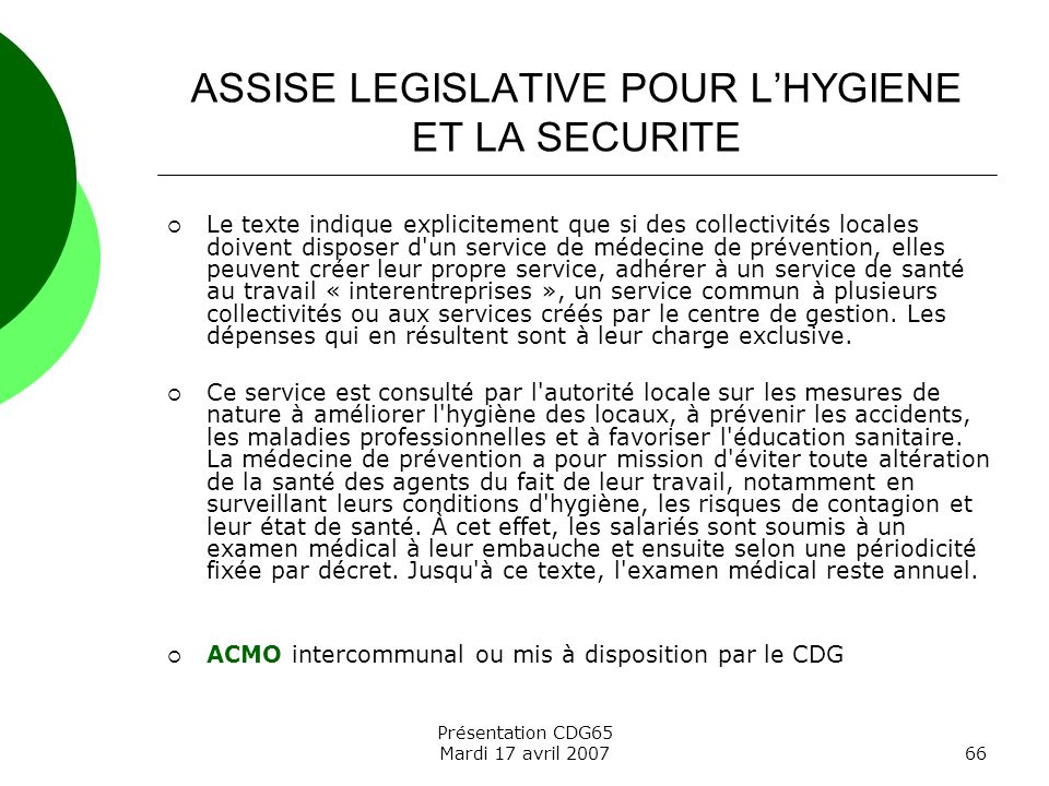 ASSISE LEGISLATIVE POUR L'HYGIENE ET LA SECURITE