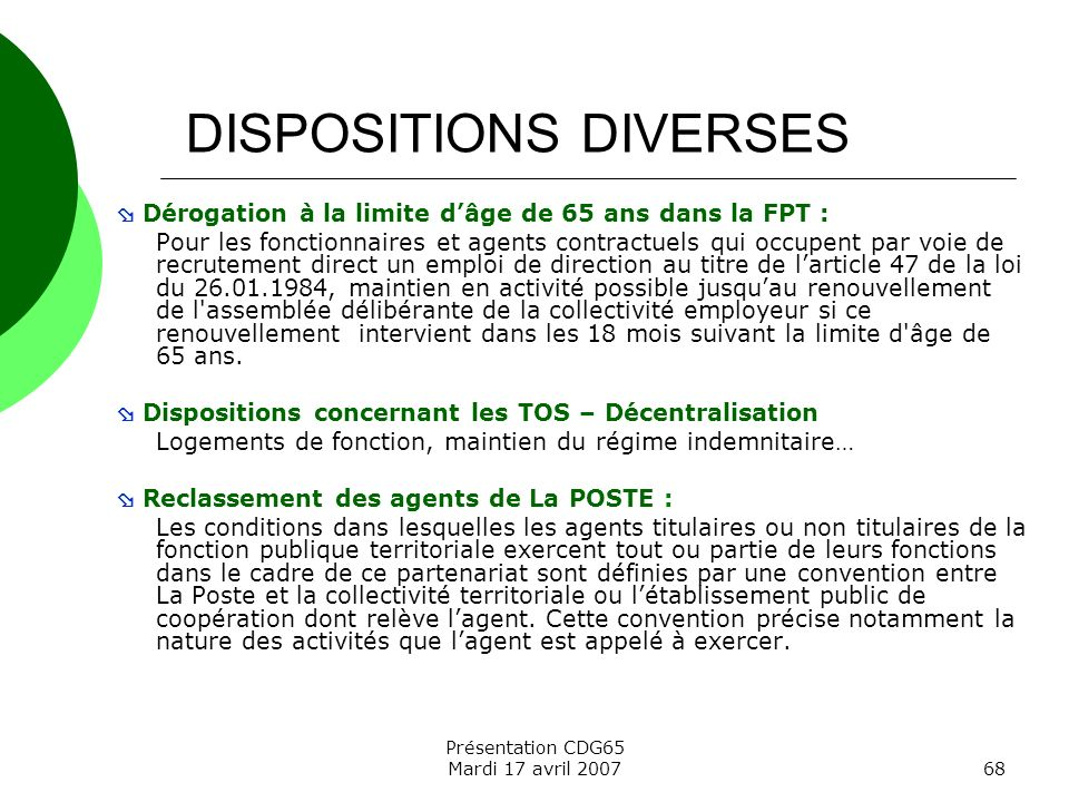 DISPOSITIONS DIVERSES