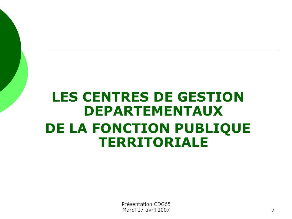LES CENTRES DE GESTION DEPARTEMENTAUX