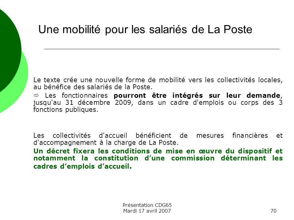 Une mobilité pour les salariés de La Poste