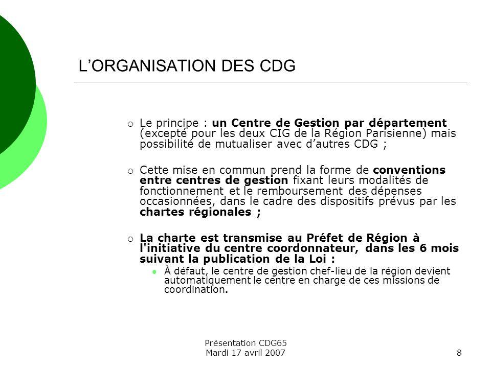 L'ORGANISATION DES CDG