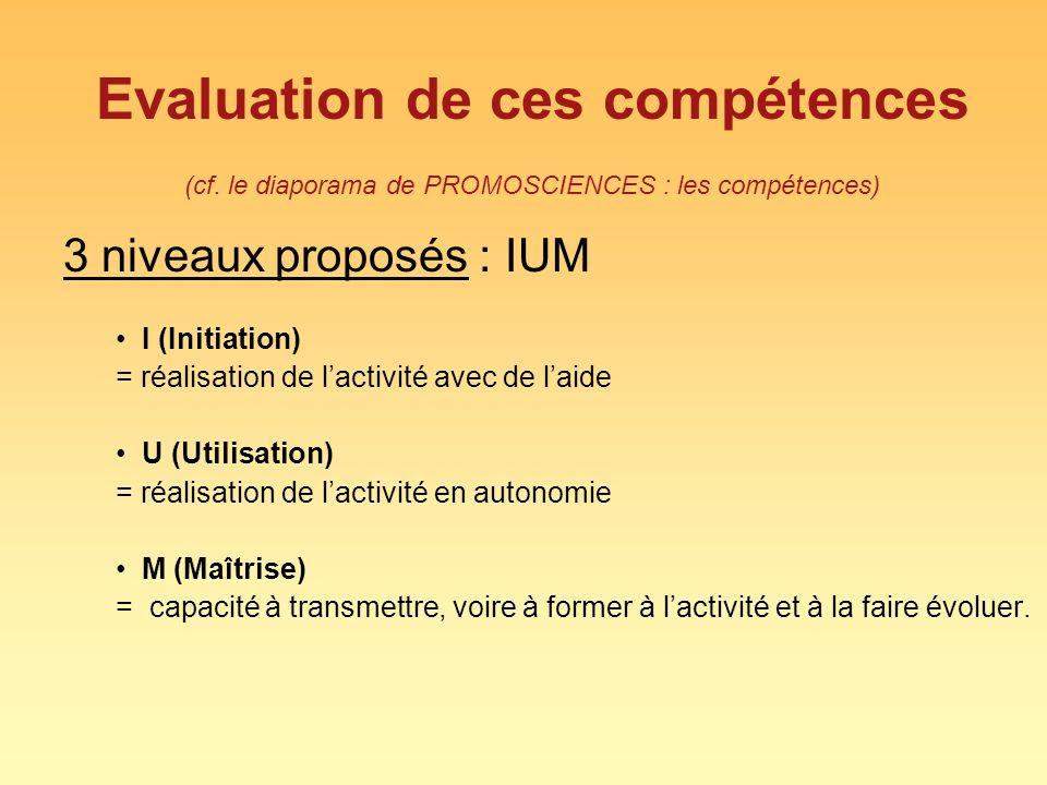 Evaluation de ces compétences (cf
