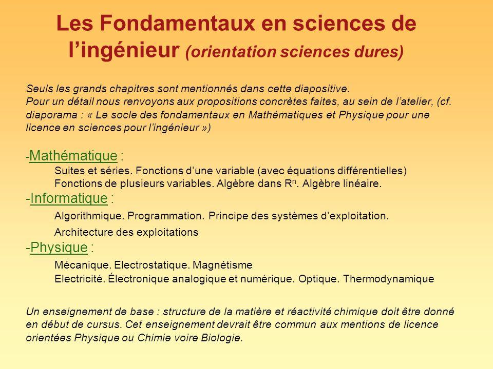Les Fondamentaux en sciences de l'ingénieur (orientation sciences dures) Seuls les grands chapitres sont mentionnés dans cette diapositive.
