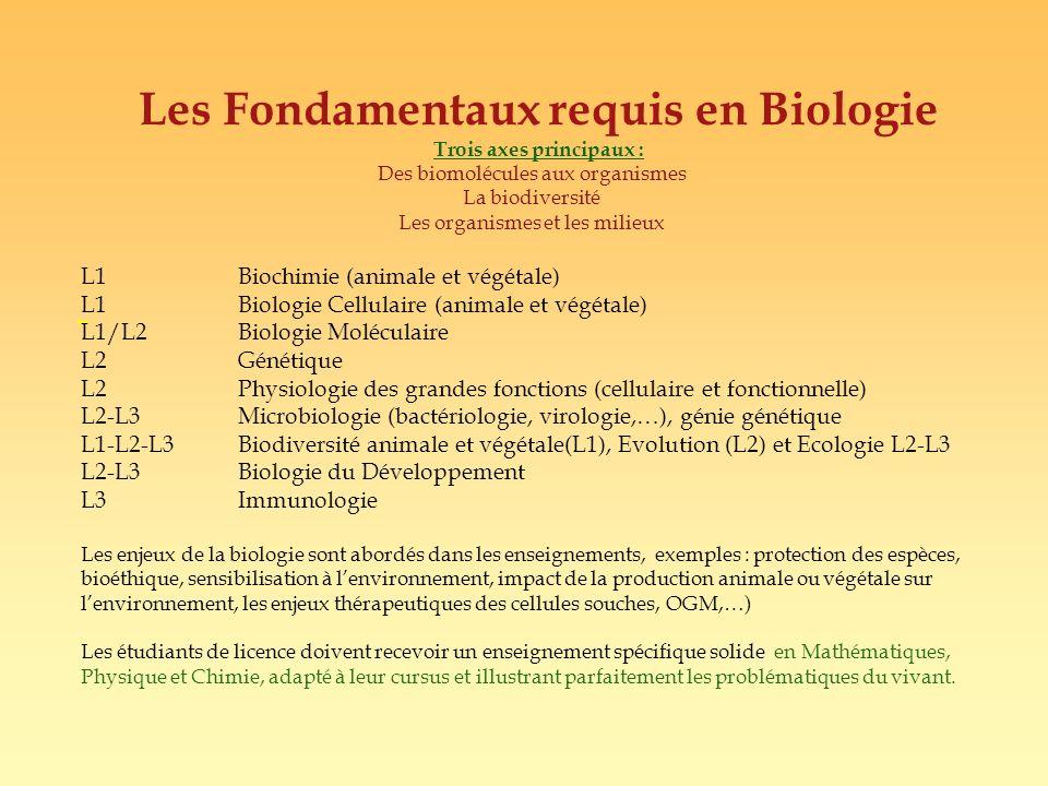 Les Fondamentaux requis en Biologie Trois axes principaux :