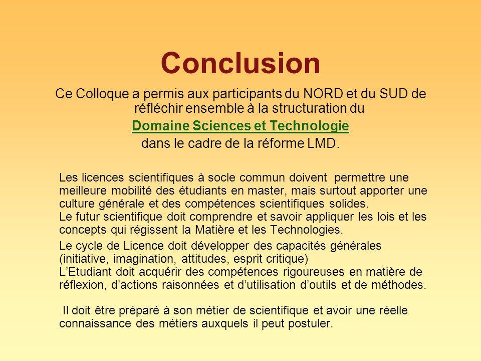 Domaine Sciences et Technologie