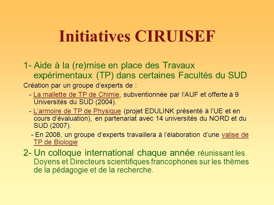 Initiatives CIRUISEF 1- Aide à la (re)mise en place des Travaux expérimentaux (TP) dans certaines Facultés du SUD.