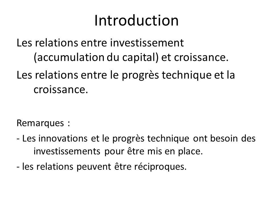 Introduction Les relations entre investissement (accumulation du capital) et croissance. Les relations entre le progrès technique et la croissance.