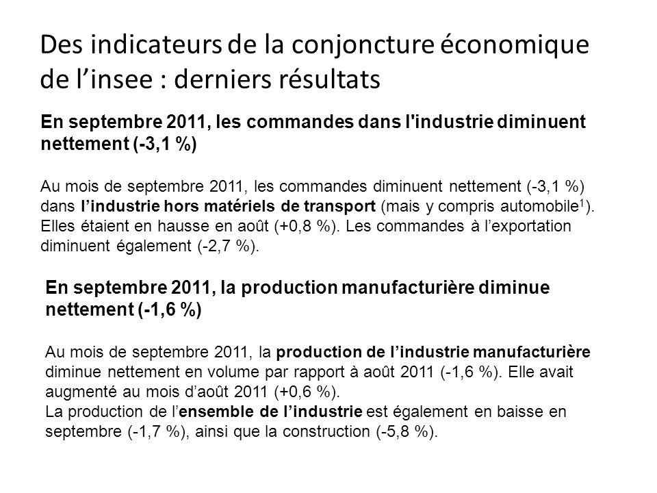 Des indicateurs de la conjoncture économique de l'insee : derniers résultats
