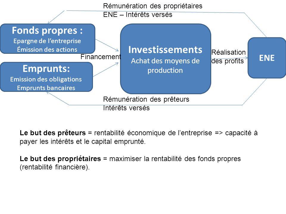 Fonds propres : Investissements Emprunts: