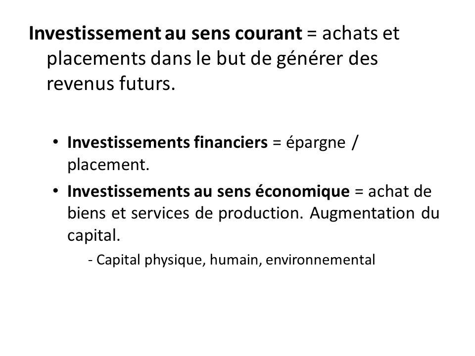 Investissement au sens courant = achats et placements dans le but de générer des revenus futurs.