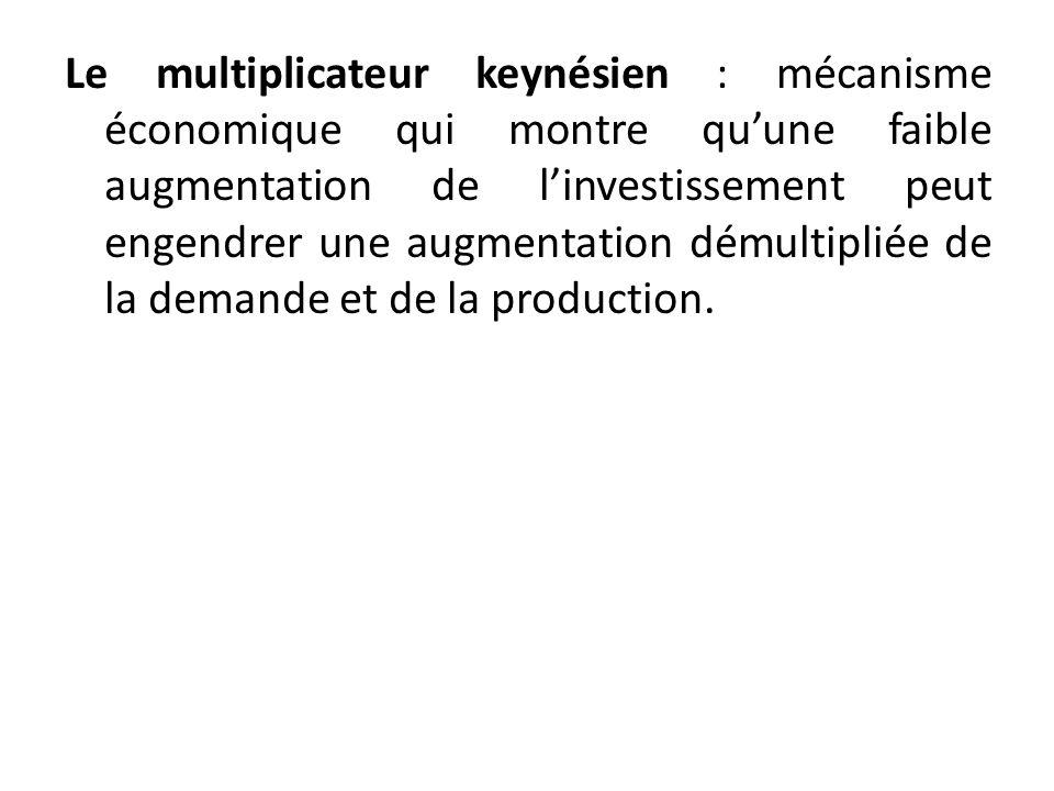 Le multiplicateur keynésien : mécanisme économique qui montre qu'une faible augmentation de l'investissement peut engendrer une augmentation démultipliée de la demande et de la production.