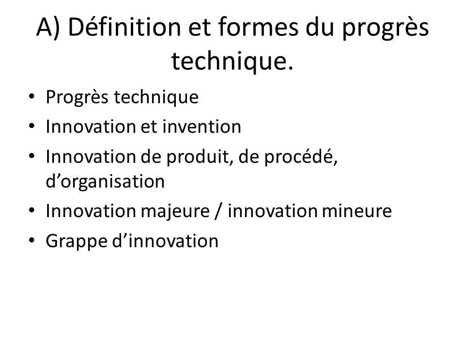 A) Définition et formes du progrès technique.