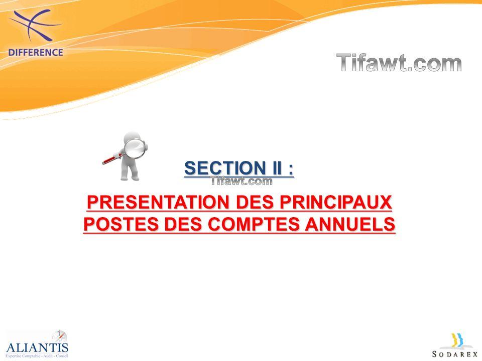 PRESENTATION DES PRINCIPAUX POSTES DES COMPTES ANNUELS