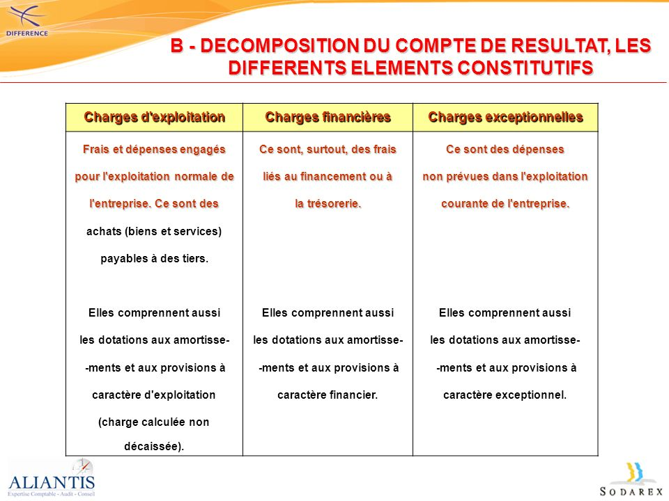B - DECOMPOSITION DU COMPTE DE RESULTAT, LES DIFFERENTS ELEMENTS CONSTITUTIFS