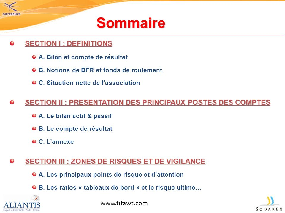 Sommaire SECTION I : DEFINITIONS