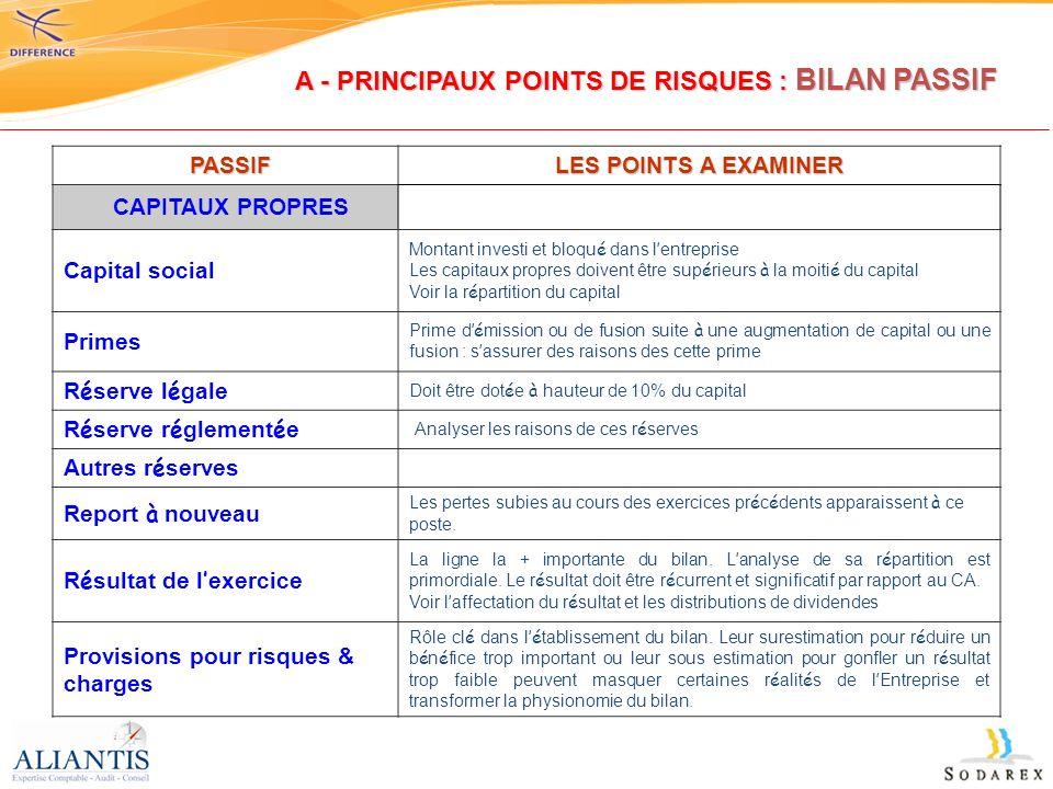 A - PRINCIPAUX POINTS DE RISQUES : BILAN PASSIF