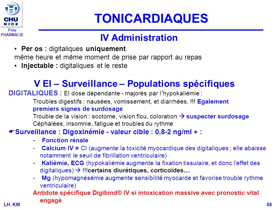 TONICARDIAQUES IV Administration