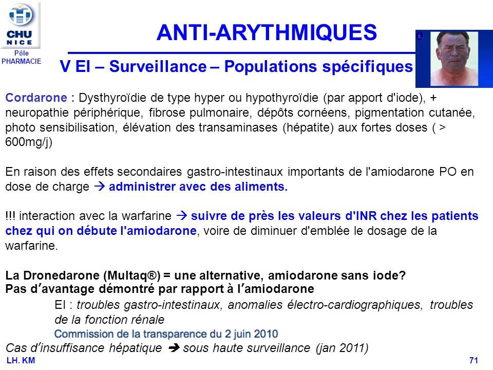 ANTI-ARYTHMIQUES V EI – Surveillance – Populations spécifiques