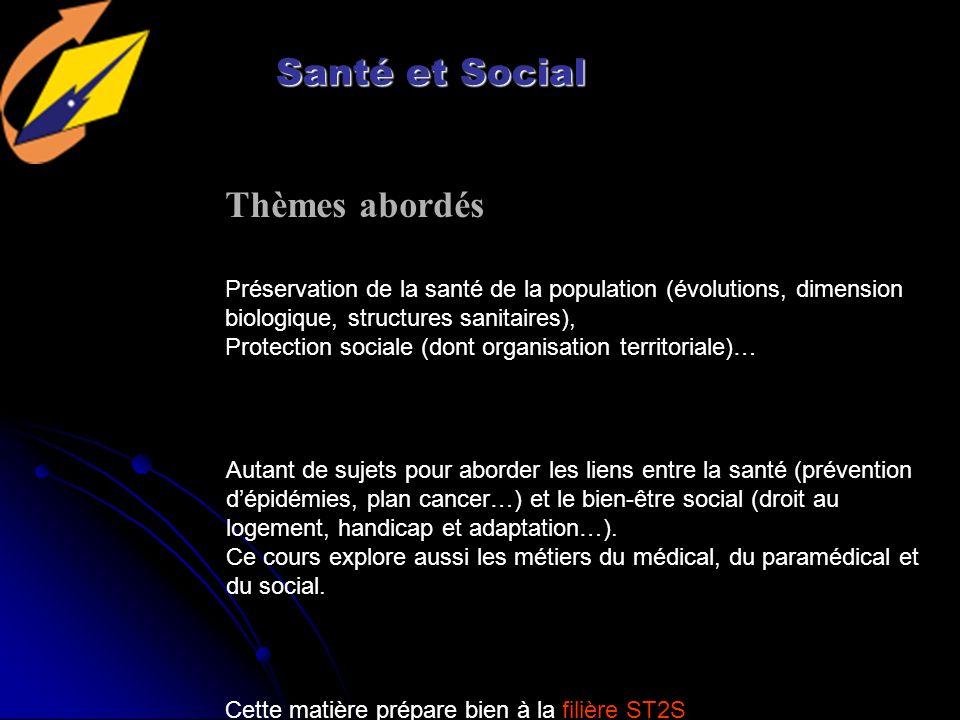 Santé et Social Thèmes abordés