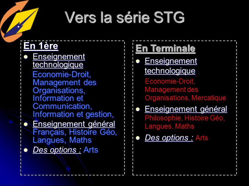 Vers la série STG En 1ère En Terminale Enseignement technologique