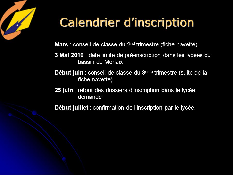 Calendrier d'inscription