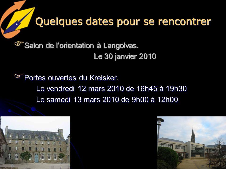 Quelques dates pour se rencontrer
