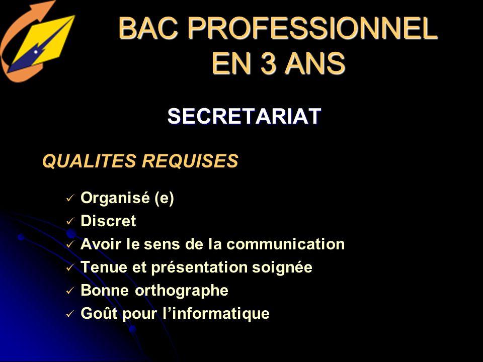 BAC PROFESSIONNEL EN 3 ANS