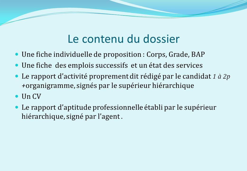 Le contenu du dossier Une fiche individuelle de proposition : Corps, Grade, BAP. Une fiche des emplois successifs et un état des services.