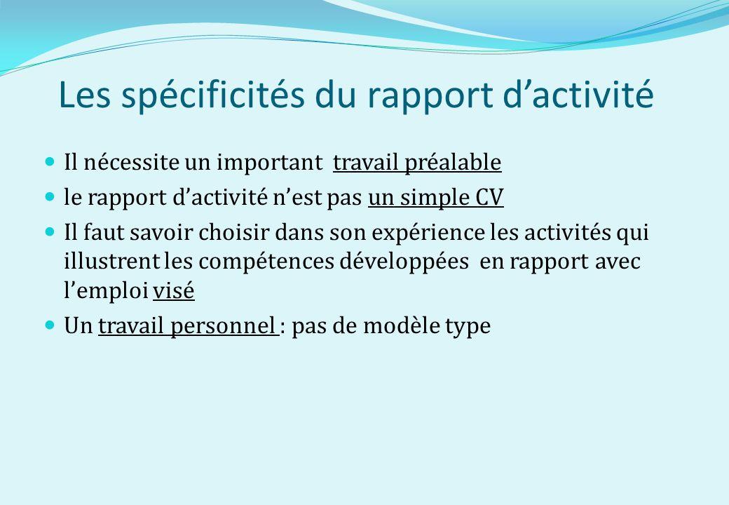 Les spécificités du rapport d'activité