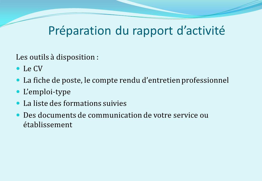 Préparation du rapport d'activité