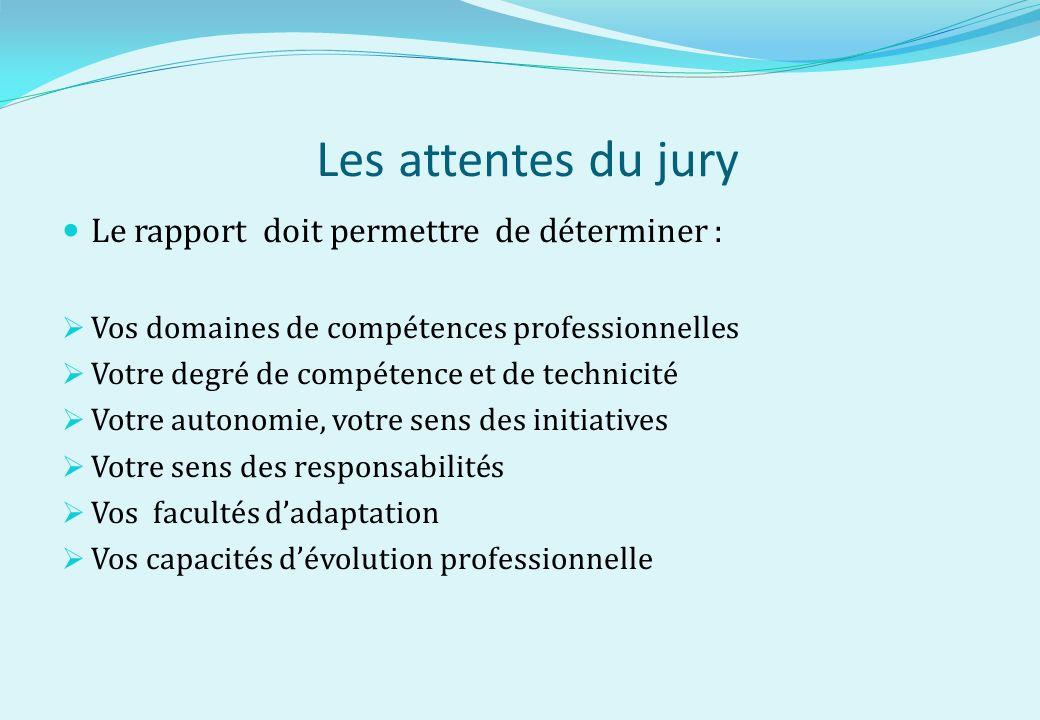 Les attentes du jury Le rapport doit permettre de déterminer :