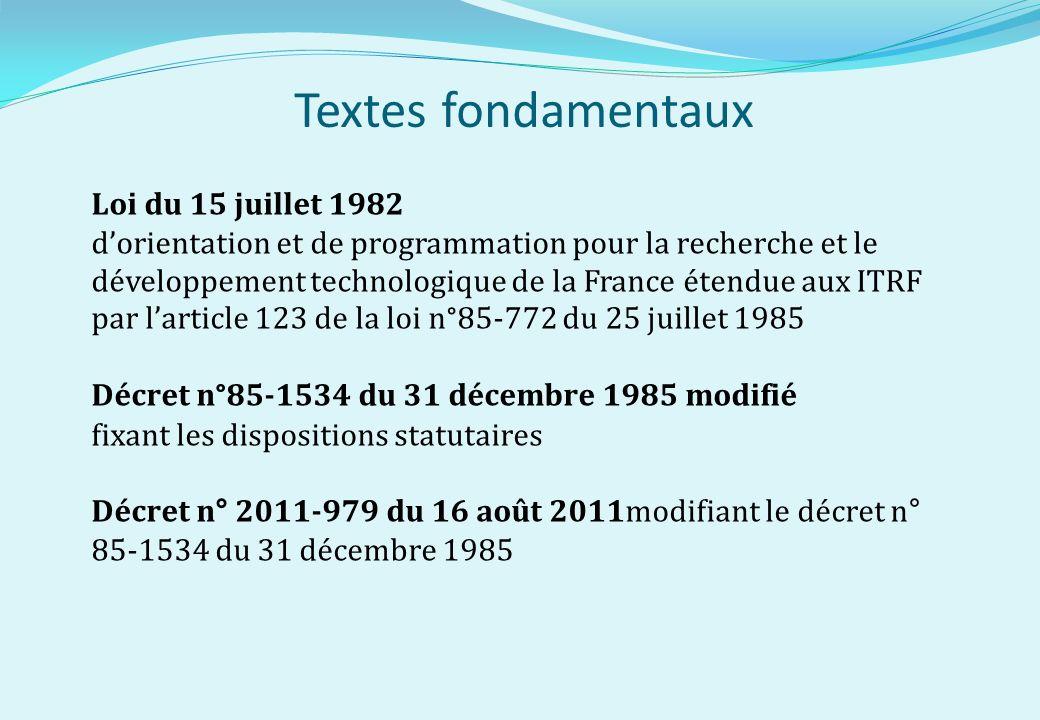 Textes fondamentaux Loi du 15 juillet 1982