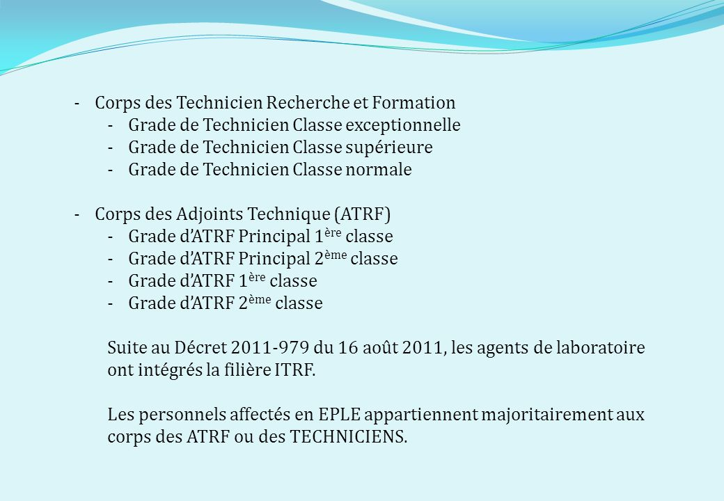 Corps des Technicien Recherche et Formation