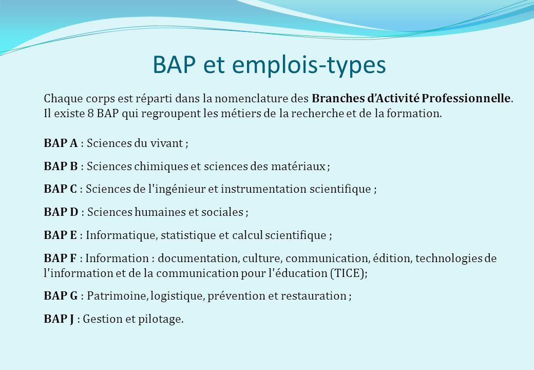 BAP et emplois-types Chaque corps est réparti dans la nomenclature des Branches d'Activité Professionnelle.