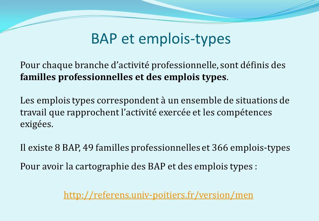 BAP et emplois-types Pour chaque branche d'activité professionnelle, sont définis des familles professionnelles et des emplois types.