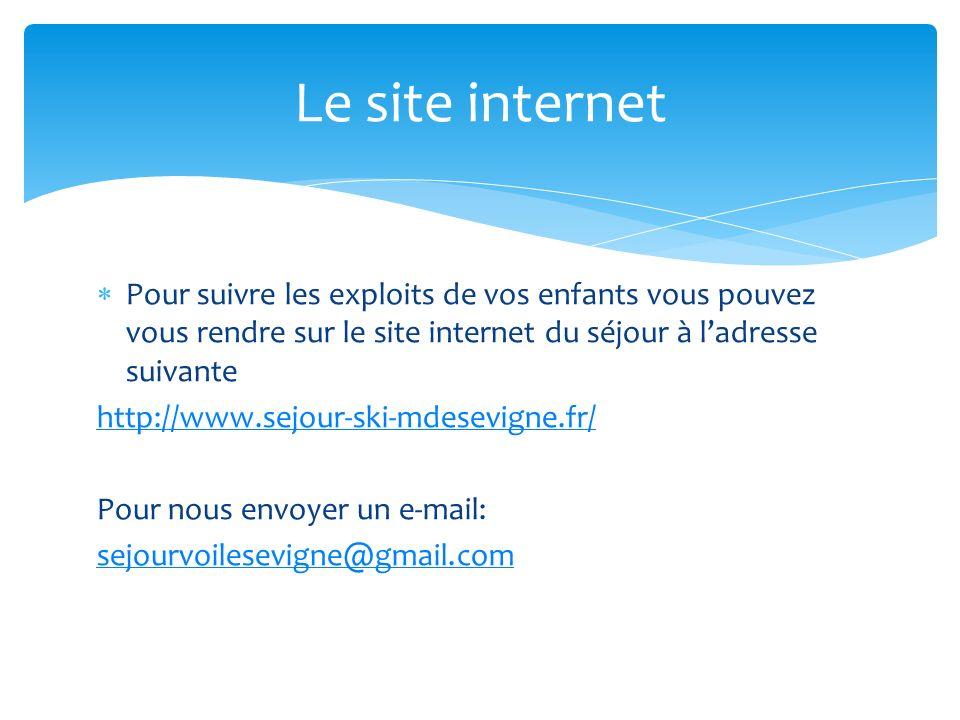 Le site internet Pour suivre les exploits de vos enfants vous pouvez vous rendre sur le site internet du séjour à l'adresse suivante.