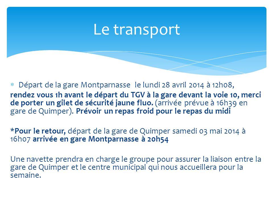 Le transport Départ de la gare Montparnasse le lundi 28 avril 2014 à 12h08,
