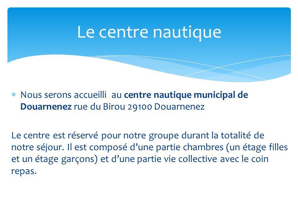 Le centre nautique Nous serons accueilli au centre nautique municipal de Douarnenez rue du Birou 29100 Douarnenez.
