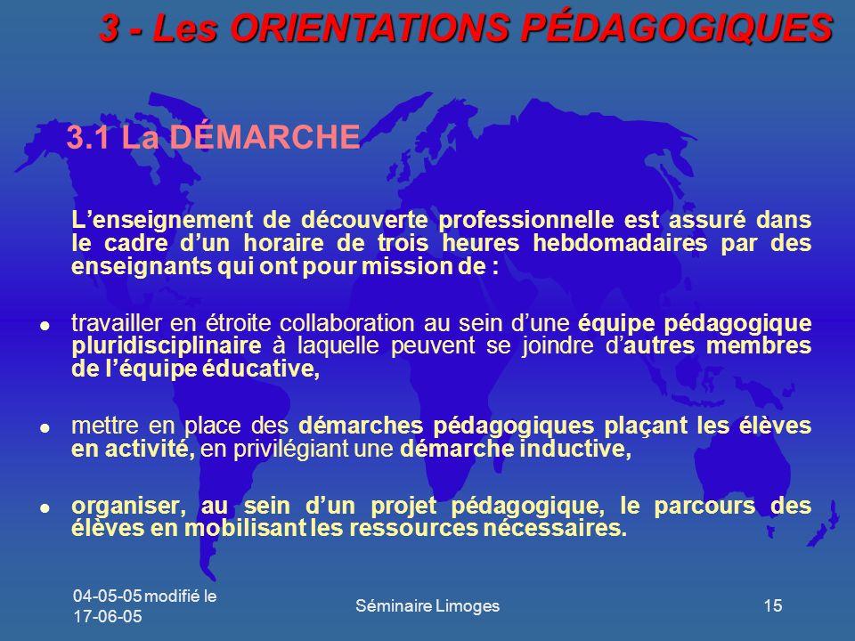3 - Les ORIENTATIONS PÉDAGOGIQUES