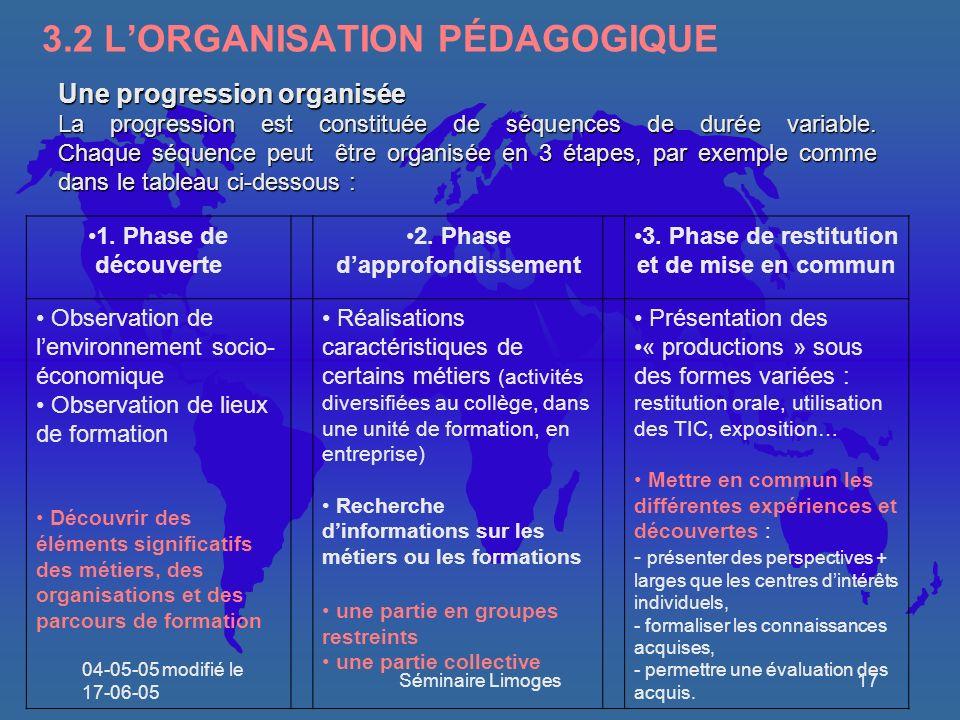 3.2 L'ORGANISATION PÉDAGOGIQUE