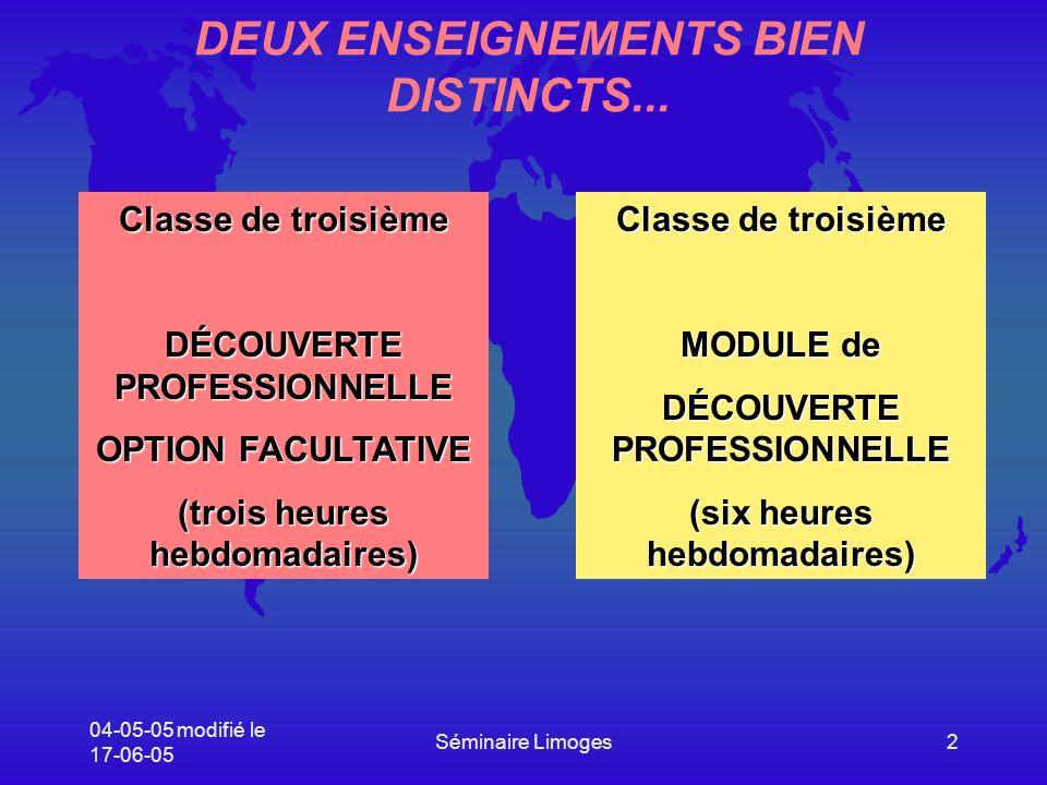 DEUX ENSEIGNEMENTS BIEN DISTINCTS...