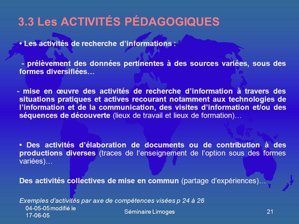 3.3 Les ACTIVITÉS PÉDAGOGIQUES