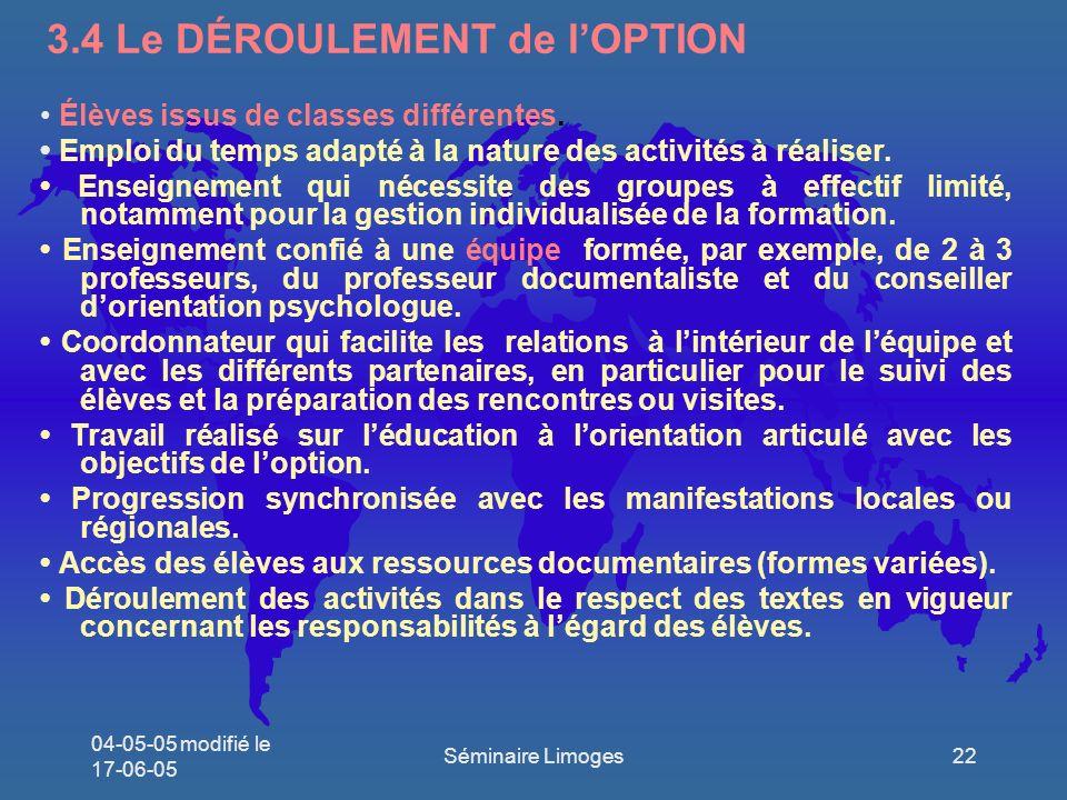 3.4 Le DÉROULEMENT de l'OPTION