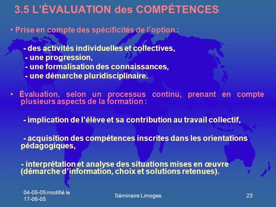 3.5 L'ÉVALUATION des COMPÉTENCES