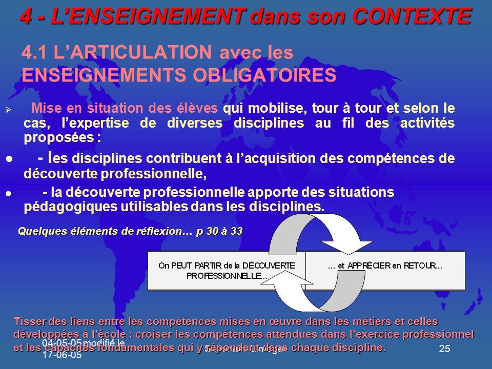 4.1 L'ARTICULATION avec les ENSEIGNEMENTS OBLIGATOIRES