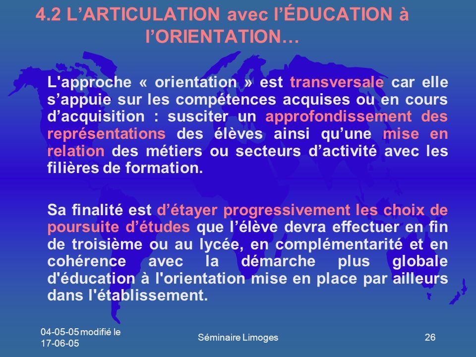 4.2 L'ARTICULATION avec l'ÉDUCATION à l'ORIENTATION…