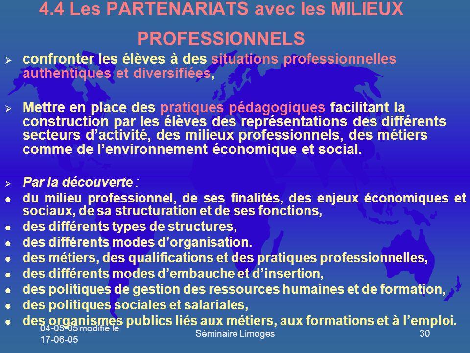 4.4 Les PARTENARIATS avec les MILIEUX PROFESSIONNELS