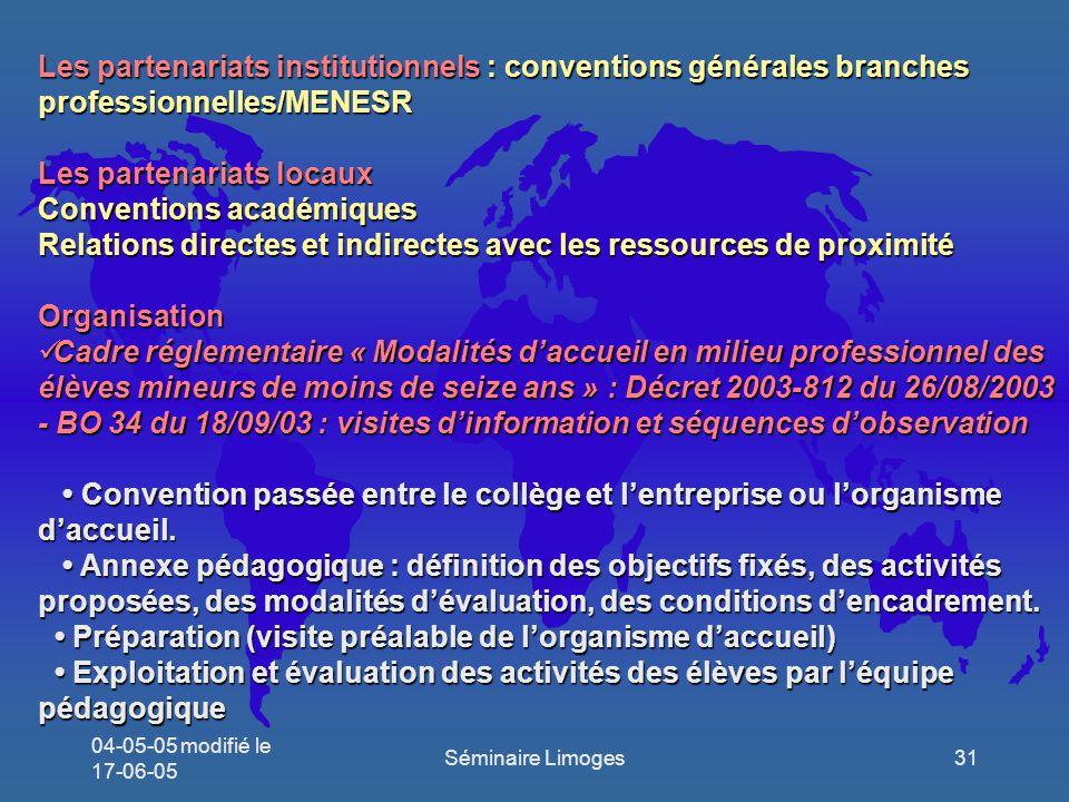 Les partenariats locaux Conventions académiques