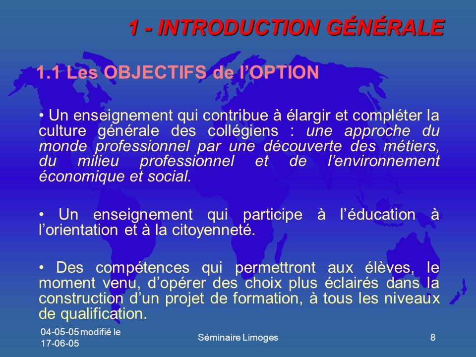 1.1 Les OBJECTIFS de l'OPTION